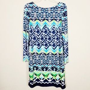 Vince Camuto Ikat Long Sleeve Dress L